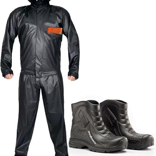 kit capa de chuva yess + bota pantaneiro - moto motoqueiro