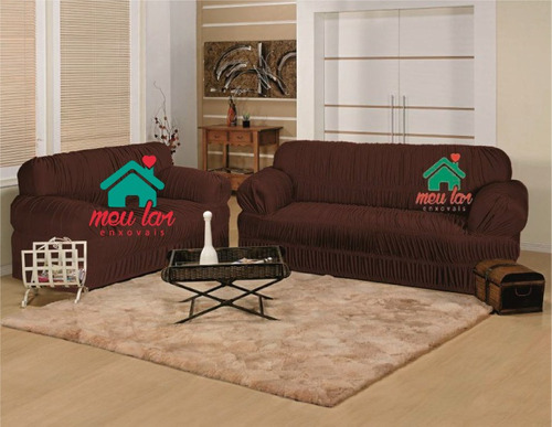 kit capa elasticada protetor sofá tabaco 2 e 3 lugares #13