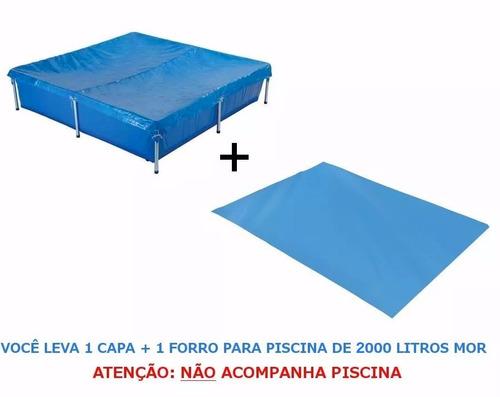 kit capa + forro para piscina de 2000 litros mor