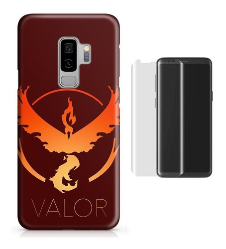 kit capa galaxy s9 plus pokemon valor+pel.vidro (bd01)