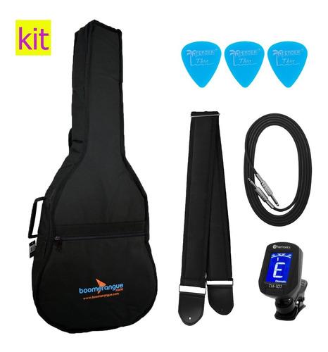 kit capa para violão jumbo acolchoada cabo correia afinador