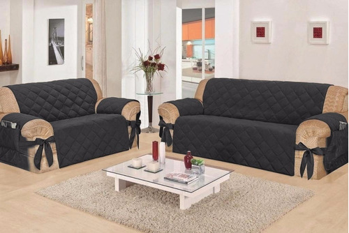 kit capa protetor de sofa  jogo 3 e 2 lugares com laço