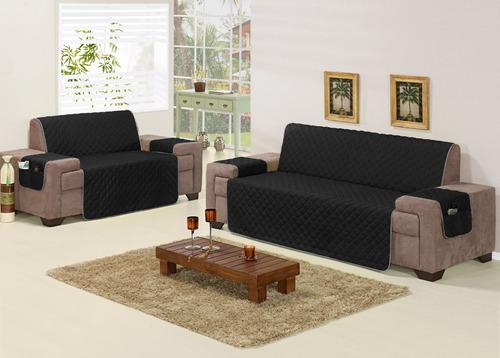 kit capa protetora de sofá preto 2 e 3 lugares