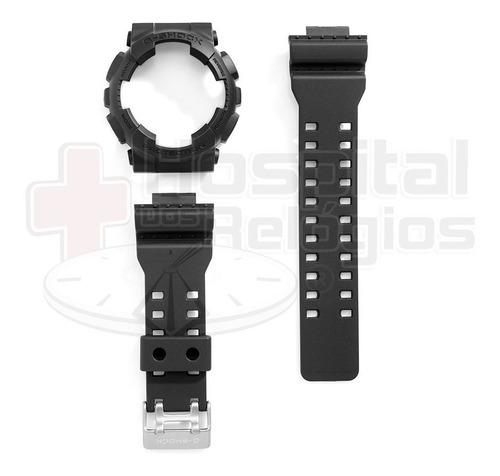 kit capa pulseira casio ga-100 ga-110 gd-100 preto g-shock