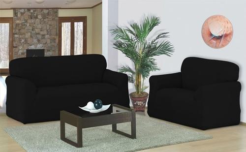 kit capa sofá preta malha gel dupla grossa  2 e 3 lugares