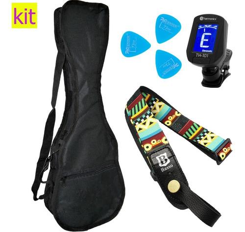 kit capa ukulele soprano + correia basso +afinador +palhetas
