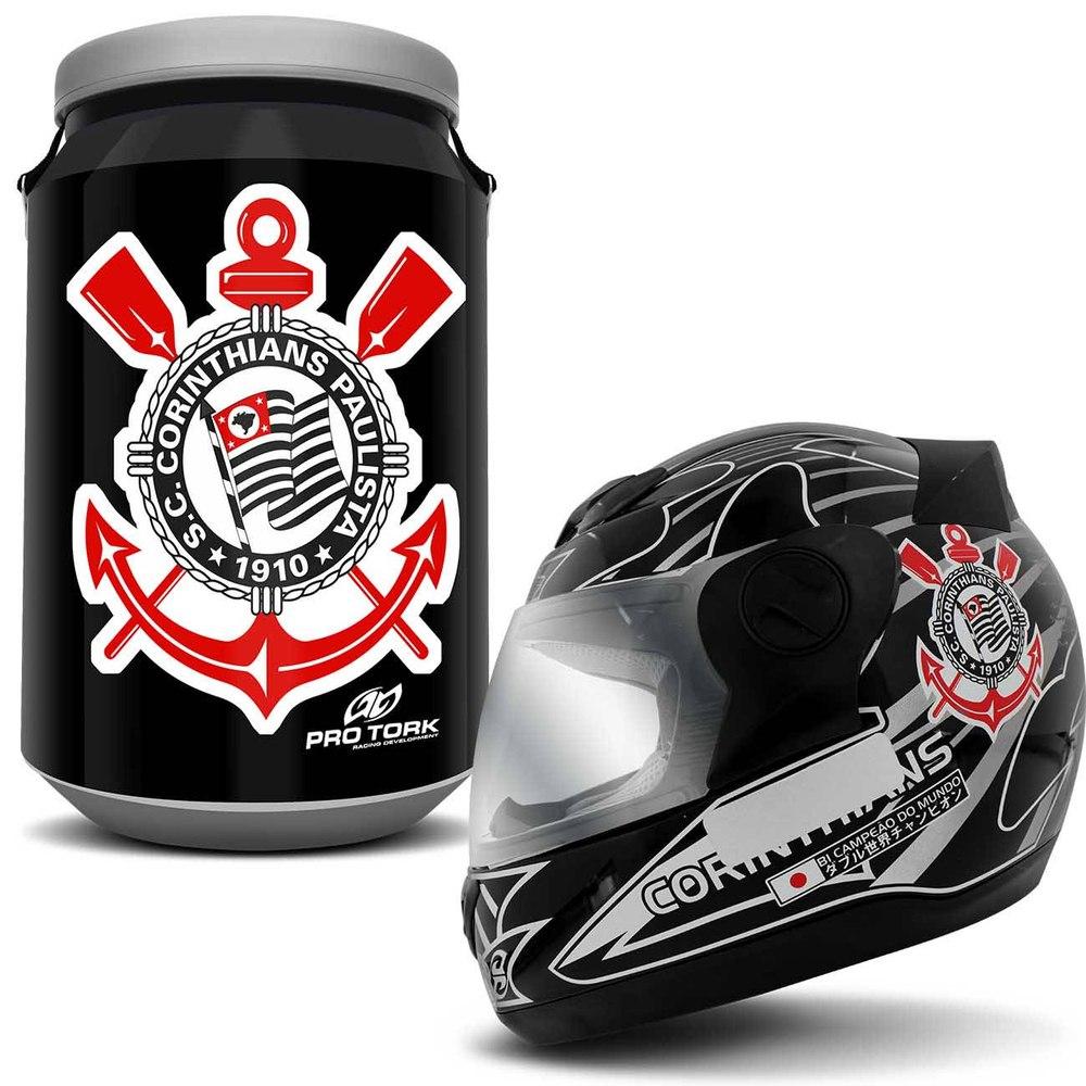 Kit Capacete Fechado Pro Tork Corinthians + Cooler Timão - R  267 dec3ec75e1f75