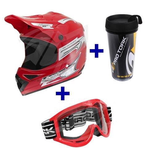 kit capacete liberty mx pro + oculos pro tork 788 + brinde