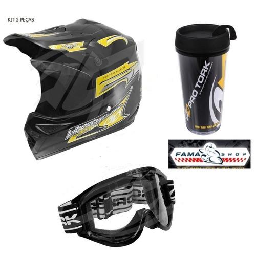 kit capacete mx cross + óculos 788 + copo pro tork trilha