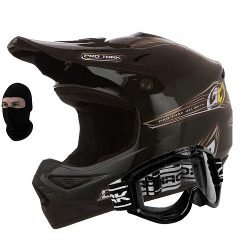 kit capacete mx pro cross + oculos pro tork + balaclava
