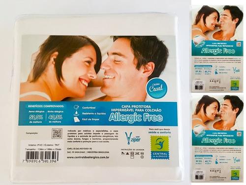 kit capas antiácaro: 1 colchão casal + 2 fronhas em tnt/ pvc