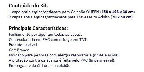 kit capas antiácaro: 1 colchão queen + 2 fronhas - tnt / pvc