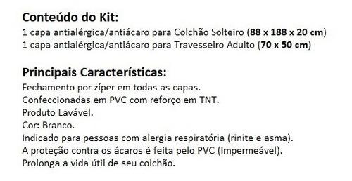 kit capas antiácaro: 1 colchão solteiro + 1 fronha tnt / pvc