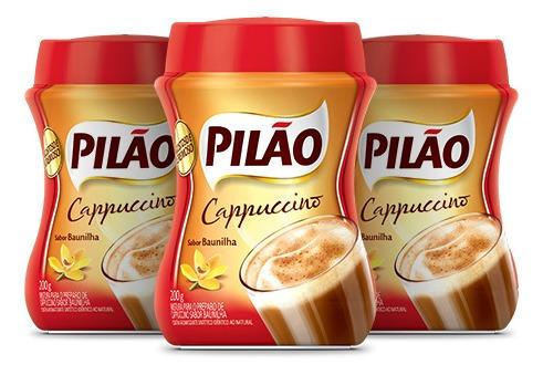 kit cappuccino pilão baunilha 200g 3 unidades