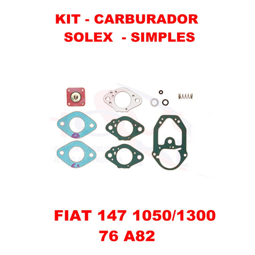 kit carburador fiat 147 76/82 solex simples