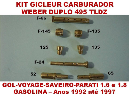 kit carburador weber 495 tldz gol 1.6 1.8 gasolina 92/97