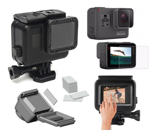 kit carcasa protectora negra touch screen gopro 7 black 5 6