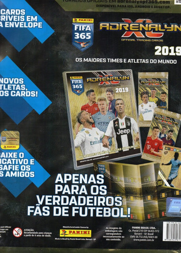 kit cards fifa 365 adrenalyn 2019 álbum+ porta cards