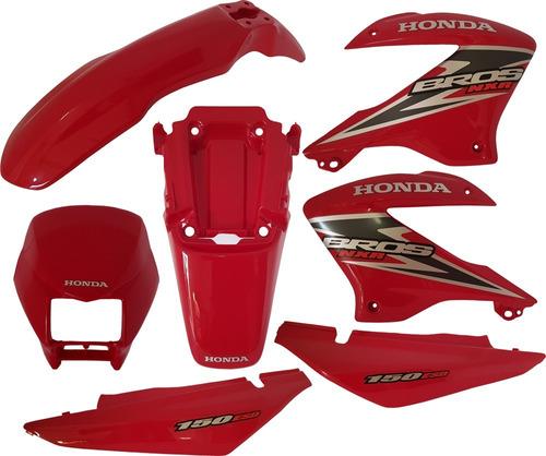kit carenagem adesivado nxr bros 150 vermelho 2006 paramotos