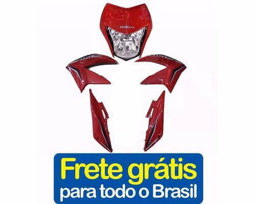 kit carenagem nxr150 bros vermelho 2013+adesivo roupa