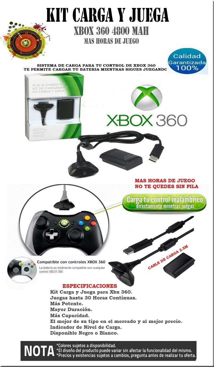 Kit Carga Y Juega Xbox 360 Horas 4800 Mah Envio Gratis