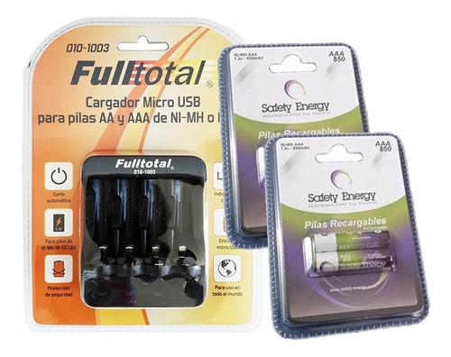 kit cargador + 4 pilas aaa 850mah ni-mh baja autodescarga
