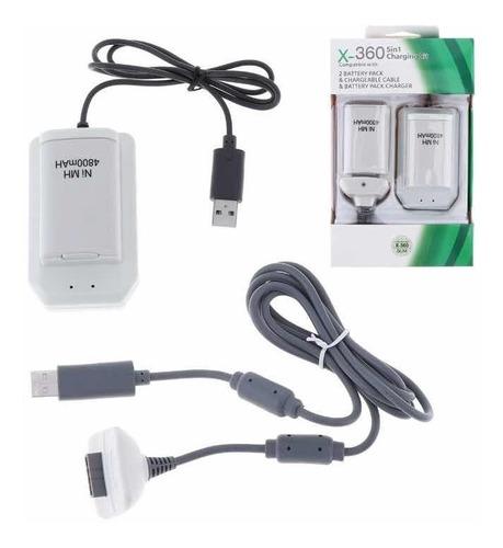 kit cargador batería 3en1  4800mah cable usb xbox 360