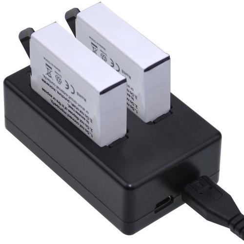 kit cargador doble + 2 baterias para go pro 4 silver y black