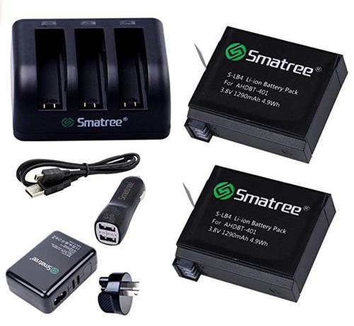 kit cargadores + 2 baterías+ carro smatree para gopro hero 4
