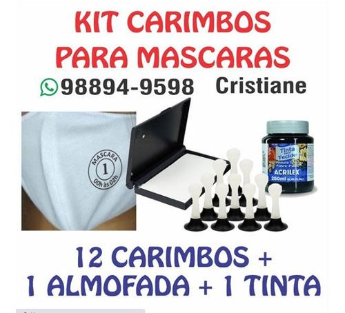 kit carimbos + almofada + tinta para tecido, para mascaras