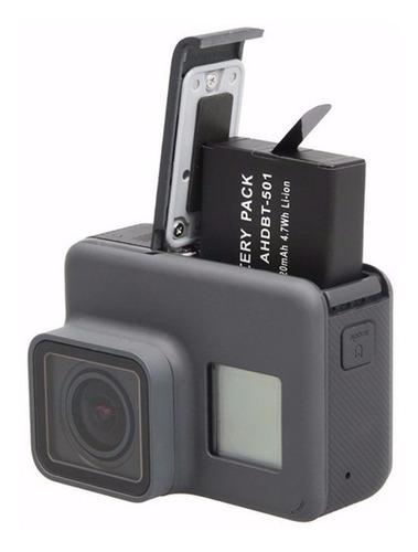 kit carregador duplo bateria camera gopro hero 5 6 7 black