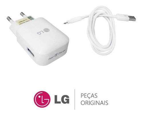 kit carregador fast charge + cabo usb lg k10 power lgm320tv