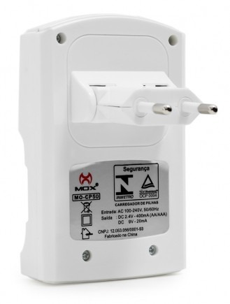 kit carregador mox + 8 pilhas recarregáveis mox aa 2600 mah.