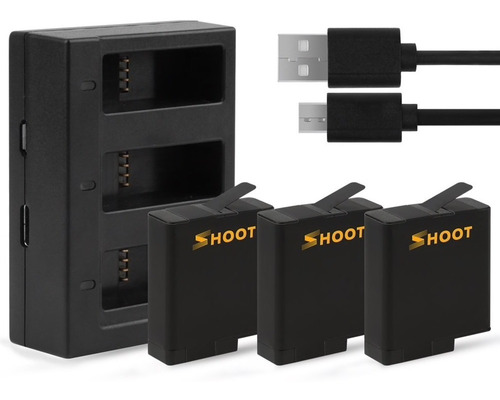 kit carregador triplo com 3 baterias - gopro hero5 6 7 black