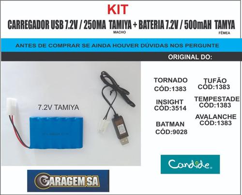 kit carregador usb 7.2v/250mah tamiya + bateria 7.2v /500mah