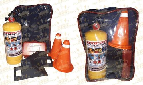 kit carretera 4 productos, extintor, botiquín, conos, tacos