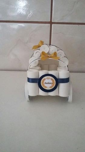 kit carrinho de bebê em eva 5 peças enfeite de mesa