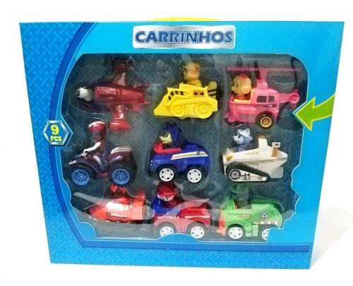 kit carrinhos patrulha canina 9 unidades fricção
