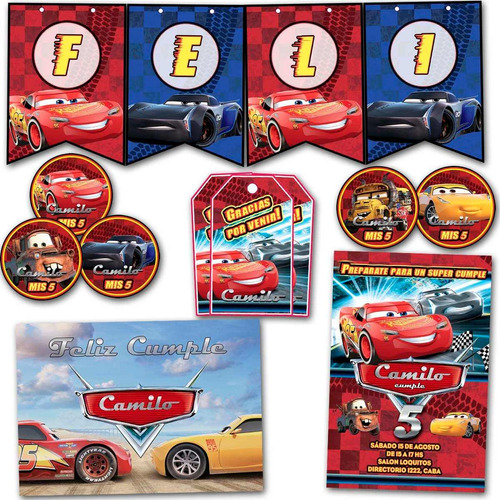 kit cars 3 invitaciones banderín tarjetitas stickers impreso