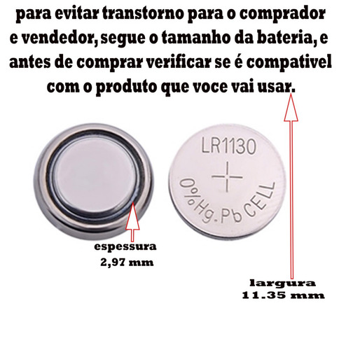 kit cartela 50 baterias ag10 lr1130 laser relógio vela led