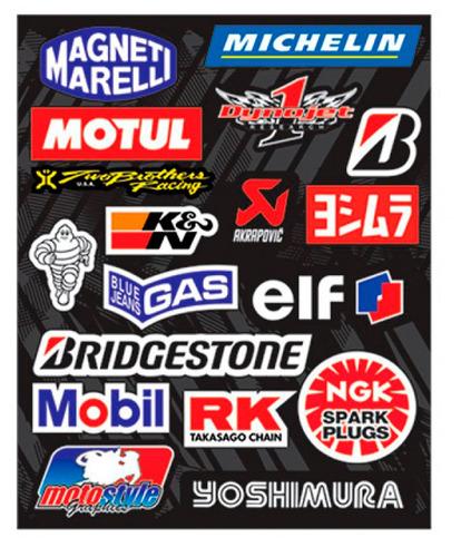 kit cartela de adesivos motos carenagem frete 12,00