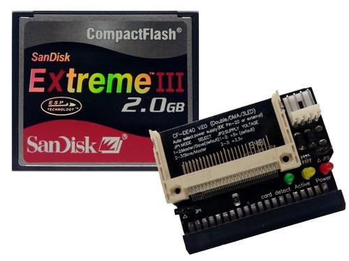 kit cartão compact flash 2gb + adaptador ide fêmea