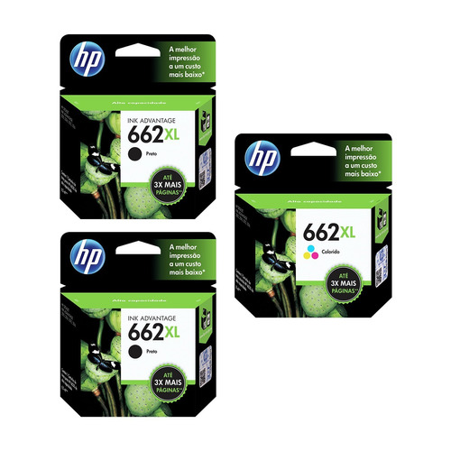 kit cartucho hp 662 xl c/ 02 preto + 01 colorido - original