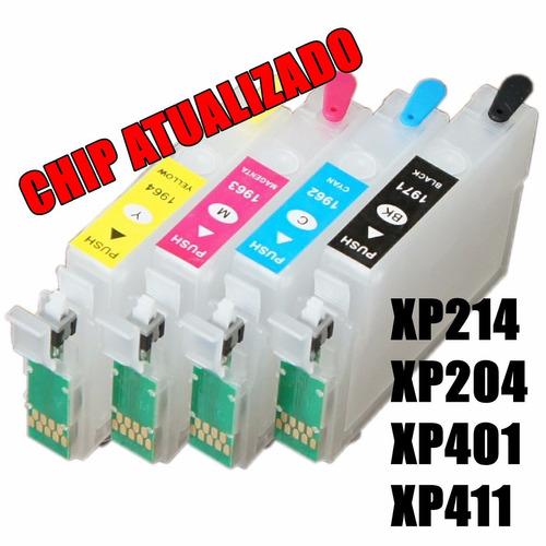 kit cartucho recarregável xp214 xp204 xp401 xp411 + 400ml