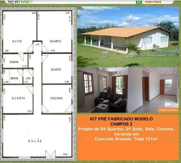 Kit Casa Pré Fabricada Em Concreto 45m2 Pronta Para Morar