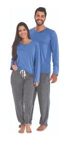 8f2817e3fcbdc4 Kit Casal Pijama Longo De Algodão Inverno Preço De Promoção