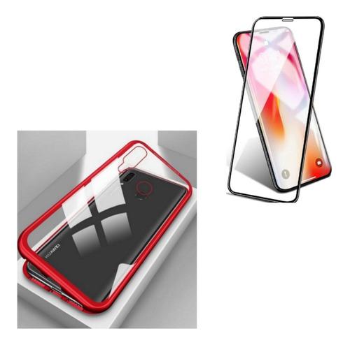 kit case magnetico protector original honor 8x  + vidrio 5d