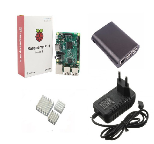kit case preto + fonte + raspberry pi3 + dissipadores