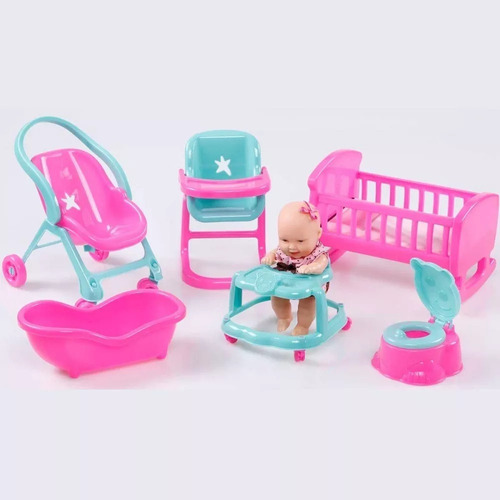 kit casinha mini miudinhas menina divertoys 6 acessorios