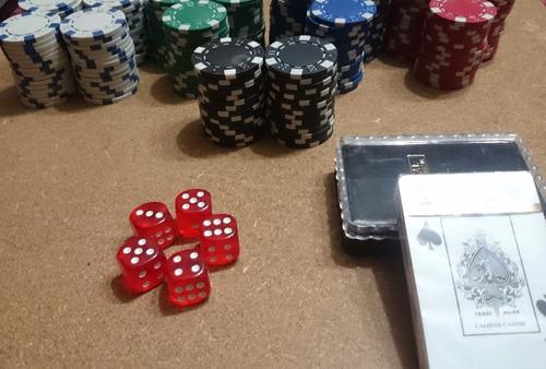kit casino poker c/ 220 fichas, baraja 100% plástico, dados